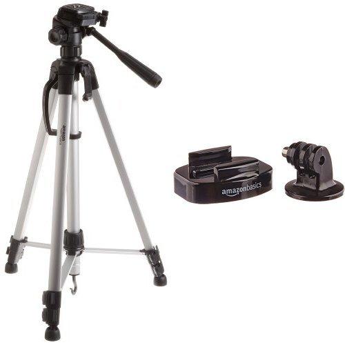 AmazonBasics Trépied ultraléger 152 cm avec sac inclus with AmazonBasics Fixations de caméra GoPro pour trépied