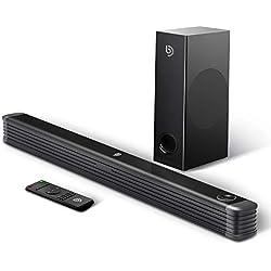 Barre de Son 2.1 Canal avec Subwoofer sans Fil 150W Haut-Parleur, BOMAKER Barre de Son pour TV, Wireless Bluetooth 4.2 Soundbar Son Surround Home Cinéma