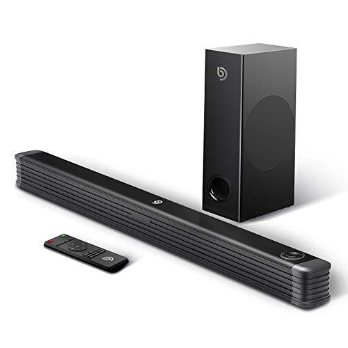 Soundbar mit Wireless Subwoofer 2.1 Kanal,BOMAKER 150W 35 Zoll Bluetooth 4.2 Lautsprecher für TV,DSP Technologie(mit AUX,USB,Koaxiale,Optischer Anschluss) für Heimkino,Party-Schwarz 150w Usb