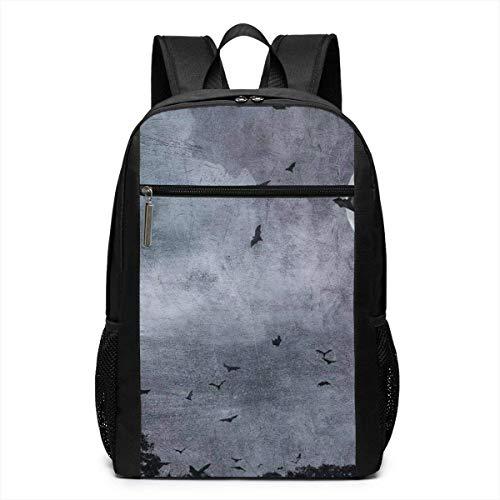 TRFashion Rucksack Spooky Bats Halloween Laptop Computer Backpack 17 Inch Stylish Casual Business Daypack Laptop Bag Schoolbag Book Bag for Men Women Black
