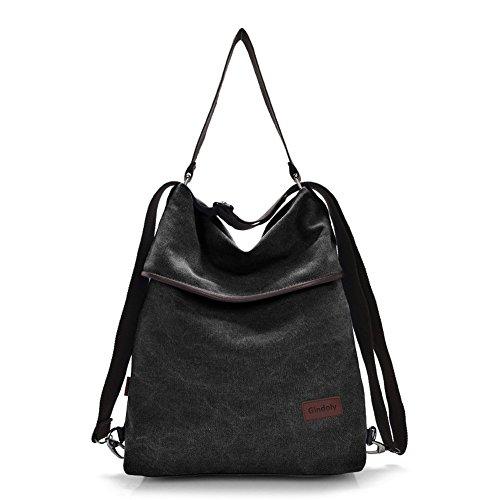 Gindoly Canvas Tasche Damen Rucksack Handtasche Damen Vintage Umhängentasche Anti Diebstahl Tasche Hobo Tasche für Alltag Büro Schule Ausflug Einkauf schwarz EINWEG