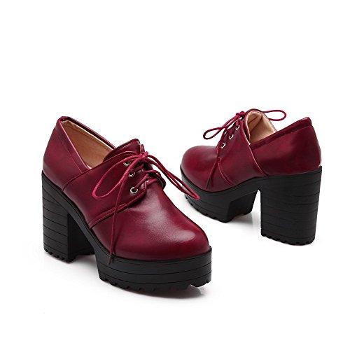 AllhqFashion Damen Pu Hoher Absatz Rund Zehe Schnüren Pumps Schuhe Rot