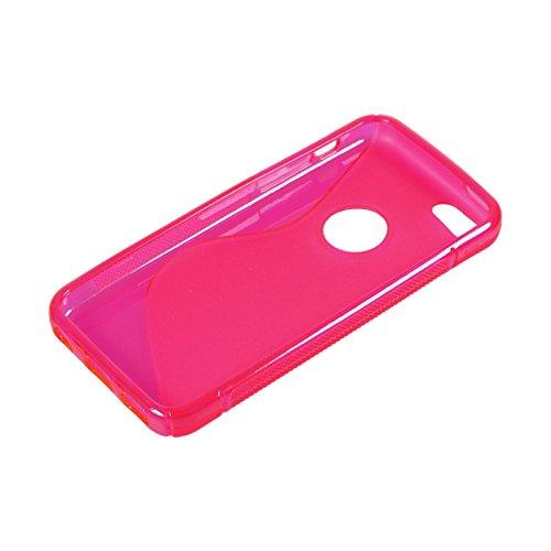 PhoneNatic Case für Apple iPhone 5c Hülle Silikon schwarz S-Style Logo Cover iPhone 5c Tasche + 2 Schutzfolien pink