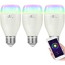 ACCEWIT Lampadina Wi-Fi Smart Bulb Dimmerabile LED Light Lampadina, 20000 ore di vita 16 milioni 7W W6500K+RGB Smart Device e controllo vocale di Amazon Alexa e Google Home Nessun hub richiesto-3 pack
