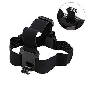 TARION® Head Strap Mount Kopfband (verstellbar, gummiert, schwarz) für GoPro Hero 1/2/3/4 4+
