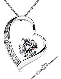 e462474fb0d4 PURA COLLECTION Collar de Mujer Plata de Ley 925 Original - Incluye Colgante  de Plata de Ley  Forma de Corazón  con…