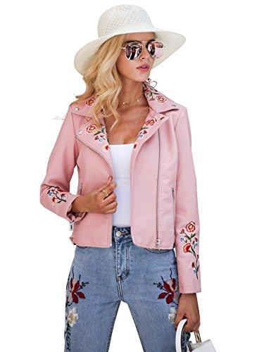 Simplee mujeres solapa de imitacion de cuero bordado ropa de motociclista chaqueta corta cremallera Outwear Pink