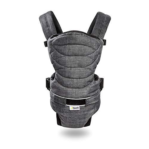 Hauck 2 Way Carrier ergonomische Babytrage, Innenraum komplett gepolstert, hoher Tragekomfort, zwei verschiedene Tragemöglichkeiten, ab Geburt bis zu 12 kg, melange charcoal (grau)