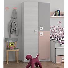 armario ropero juvenil infantil puertas barra interior y estantes color blanco gris