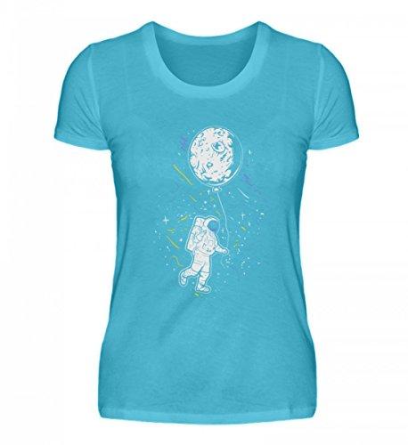 Hochwertiges Damenshirt - Astronaut mit Ballon - Mond Weltraum Raumfahrer Galaxie Science Fiction Sci-FI ()