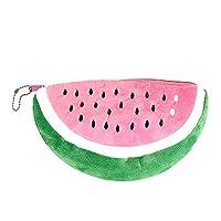 Deykhang Pencil Bag Short Short Plush Watermelon Design Semicircle Pencil Bag Stationery Storage Zipper Case For Students Girls Gift Pink