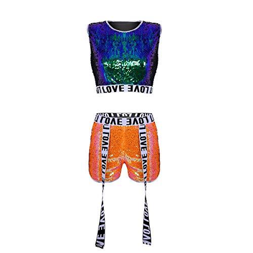 dPois Damen Pailletten Kleidung Set Crop Top mit Shorts Glänzend Performance Kostüm Tanzkostüm Frauen Sport Anzug Hip-hop Jazz Tanzkleidung Clubwear Dancewear Grün&Orange - Damen Hip Hop Kostüm