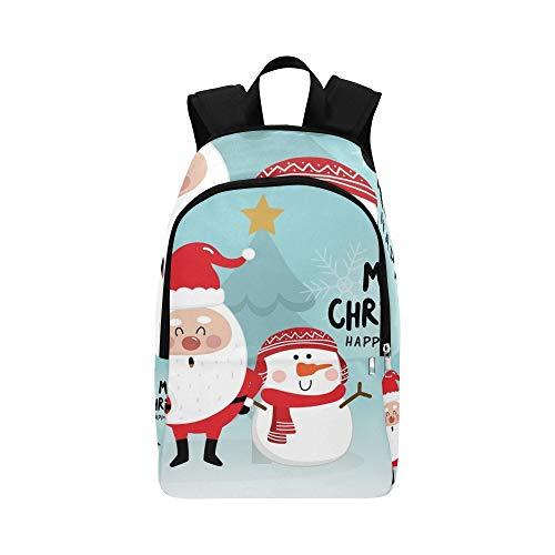 Frohe Weihnachten süße Santa Rentier Schneemann lässig Daypack Reisetasche College School Rucksack für Männer und Frauen