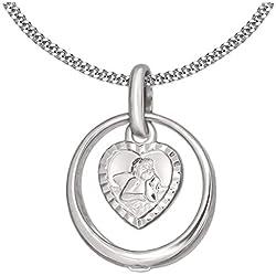 Clever Schmuck - Collier avec bague de baptême en argent 925 - Zircon blanc en forme de cœur - Avec chaîne gourmette en argent sterling 925 de 34 cm