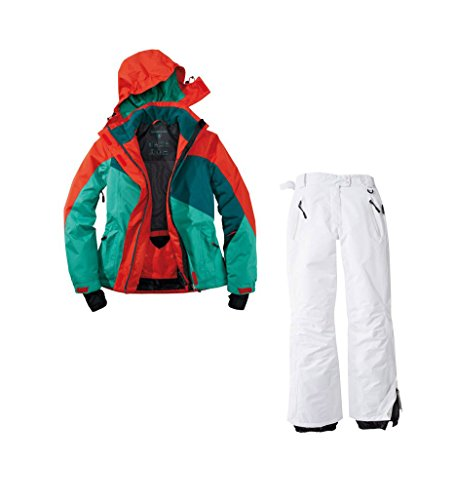 Skianzug 2tlg. Funktioneller Skianzug Für Damen Gr. 40 M-14 Farbe. Grün-Rot-Weiß Schneeanzug