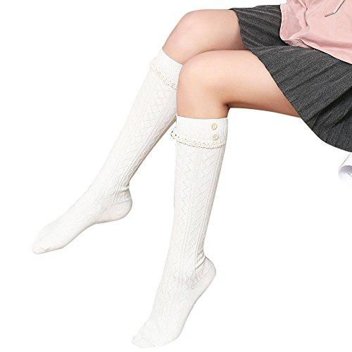 ITISME Socken Frauen-Winter-Warme Knit-Lange Stiefel-Socken-Knie-Hohe DüNne Bein-Schenkel-StrüMpfesocken Herren Damen Weiß Schwarz Sneaker Kurz Rot Bunt Baby Lang Kinder