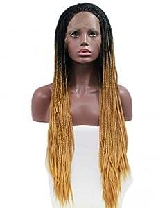 Tsnomore Noir Blond Ombre Braid long lacet femmes synthétique perruque d'avant