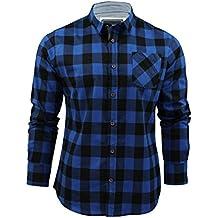 Brave Soul CABALLEROS jackd Camisa De Cuadros Diseñador Chambray DETALLE Algodón Arriba