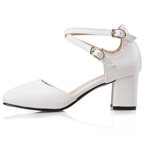 TAOFFEN Damen Sweet Mid Heel Fesselriemen Sandalen Blockabsatz Party Schuhe Weiß