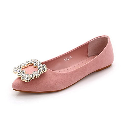 AalarDom Women's Pointed Closed Toe Imitated Suede Flats-Shoes with Glass Diamond, Pink, 34 (Pink Hot Tweed)