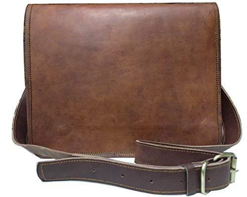 Full Klappe aus Leder Handgefertigte Tasche Laptop Messenger Bag Schultasche Braun Rustic Brown (L) 15