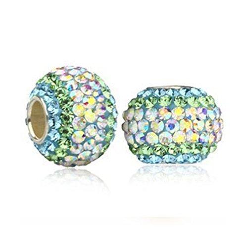 Andante-Stones 925 Sterling Silber Kristall Glitzer Bead Charm