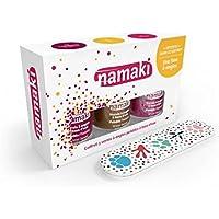 NAMAKI - Caja con 3 esmaltes de uñas a base de agua - Fresa, Oro, Fucsia - Con una bonita lima de uñas - Fácil de aplicar - Secado rápido - Sin aditivos químicos nocivos - 22.5 ml