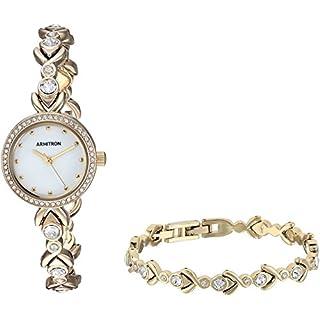 Armitron Women's 75/5544MPGPST Swarovski Crystal Accented Gold-Tone Watch and Bracelet Set
