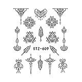 Abstrakt Nail Sticker Tatoos Einfache DIY Blumen-Mond-Herz-Nagel-Übertragung...