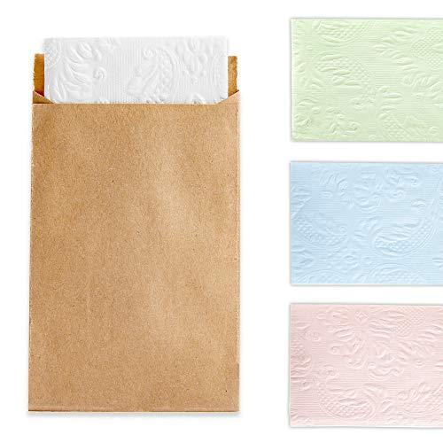 FesttagsLiebe 30 Freudentränen Taschentücher Weiß Mit Kraftpapier Tüten, Geprägte Papiertaschentücher, Mini Papiertüten, Vintage Hochzeit Deko