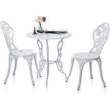 iKayaa - Set de Mesa y Sillas para Jardín (Color Blanco,Clásico y Elegante), Conjunto de Muebles para Porche Balcón Café Bistro Patio Aire Libre Piscina