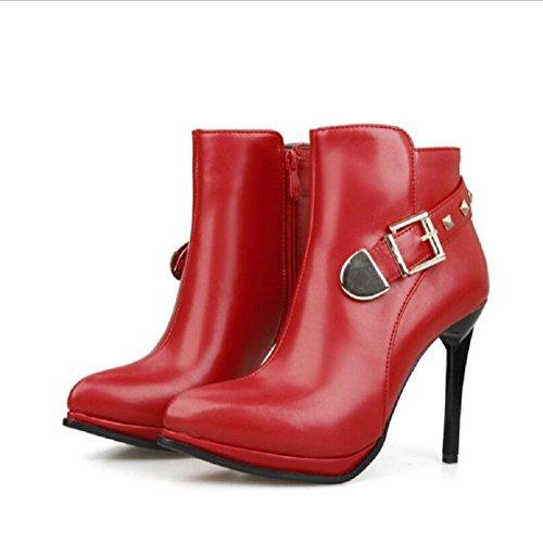 Punta Martin stivali tacchi alti fibbia della cintura con belle scarpe red