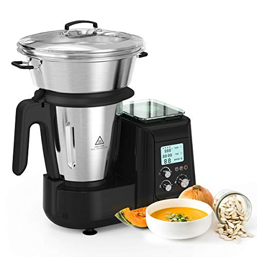 Robot de Cocina, Batidora, Soup Maker Multifuncional MLITER, Picadora Vaporera Acero Inoxidable, Báscula Digital, con Pantalla LCD 5 Velocidades Temporizador y Ajuste de Temperatura, 800W, Negro