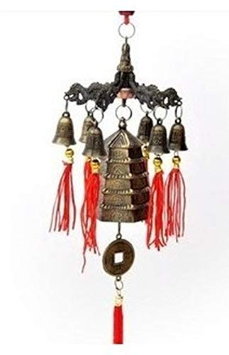 Wind chimes Q Six Dragons Copper Bell Hexagonal Tower Peace Bell Wind Tower Hexagonal Wind Bell Shawangcai Copper Bell