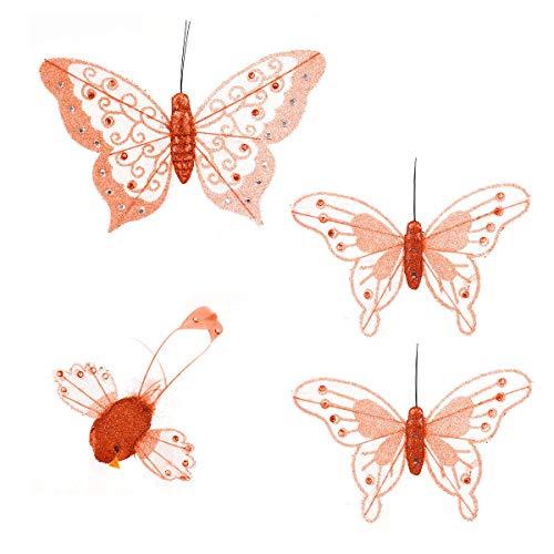 MW Handel 4-tlg. Dekoset 3er Schmetterlinge und 1 Vogel, Schmetterlinge Schmetterling orange (Plissee-grenze)