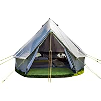 Life Under Canvas 4m Bell Tent Zipped in Groundsheet 100% Cotton Canvas Family Glamping Garden Camping Tent by 11