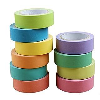 AUFODARA Decorative DIY Colourful Tape Washi Masking Tape 10 Rolls, 10m*15mm