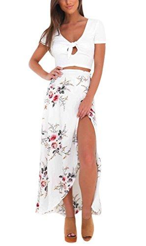 Rock lang unregelmäßiger Slits Röcke mit Blumendruck Damen boho Chiffon Sommer Strand Maxirock Festlich Cocktail Langrock Weiß