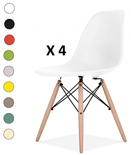 Millhouse High Quality Eiffel Chairs Retro Side Dining Office Lounge Chair (White, 4)