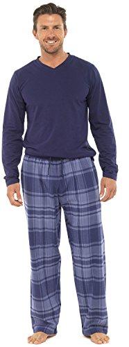 2 pezzi, lunghezza intera, pigiami, di lusso, caldi, invernali, termici, maglia top-pantaloni pigiama da uomo in flanella da ragazzo pjs pj's gift taglia: s-xxl blue check large