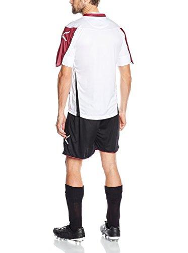 Legea Herren Jungen Fußball Kit Trikot Shirt Short Hosen Klein Armel Hallenfußball Belfast Weiss Royal Weiß/Dunkelrot