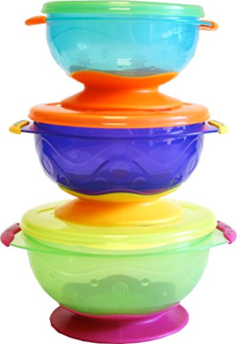 Nuby Stackable Suction Bowl with Lid (Pack of 3, Multi-Coloured) Test