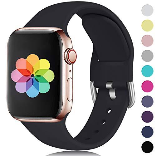 HUMENN Kompatibel mit Apple Watch Armband 38mm 40mm 42mm 44mm, Weiches Silikon Klassisch Sport Ersatzband für iWatch Series 5,4,3,2,1, 38mm/40mm-S/M Schwarz