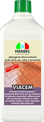 Marbec - VIACEM 1LT | Detergente disincrostante Acido Tamponato Forte per Cotto e Terracotta e Materiali Resistenti alle Sostanze acide