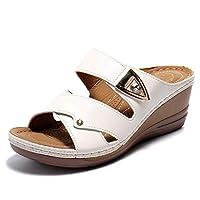 Alexis Leroy Women Sandals Summer Comfortable Open Toe Crisscross Straps Slip on Wedge Sandals White 6 UK/39 EU