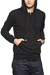 Gridstone Black Sweatshirt with Placket and Hood-PJKTBLK60107-L