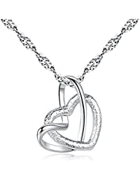 White Gold Plated, Loving You A Lifetime Interlocking Crafted Heart Shape Pendant Necklace For Women
