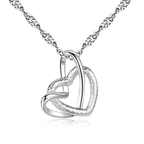collana donna in argento con pendente a cuore d'argento e zircone cubico