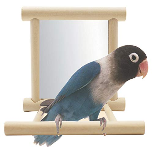 Neborn Lustige Holz Vogel Spielzeug Spiegel Stehen Plattform Spielzeug Für Papageien Nymphensittich Vogel Vogel Spiegel Käfig Stand Bar Zubehör (Für Stand Den Vogel Käfig)