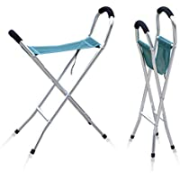Sun Leisure® Folding Alloy Walking Stick Chair Stool, Sturdy Lightweight Solid Aluminium Frame, Fishing Garden Camping Event Stool